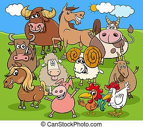 funny cartoon farm animals characters group