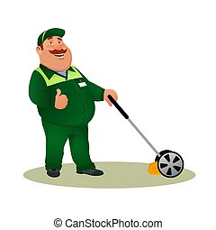Funny cartoon farmer with lawn mower and ok gesture. Smiling character gardener man cutting grass isolated on white background. Happy flat worker from lawn care service. Colorful vector illustration.