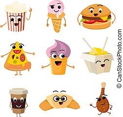 Funny cartoon fast food vector set