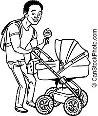 Funny cartoon father with baby stroller. Vector illustration