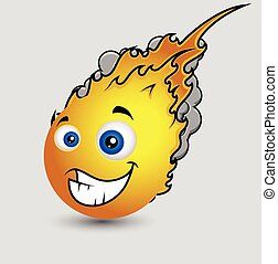 Funny Cartoon Fireball Emoticon