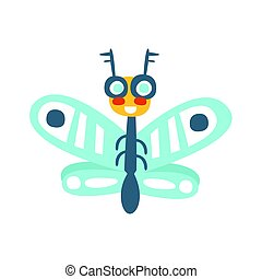 Funny cartoon flying fly insect, colorful character vector Illustration
