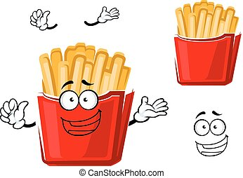 Funny cartoon french fries on paper cup