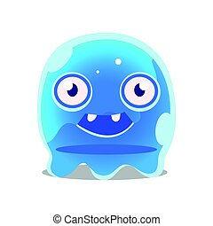 Funny cartoon friendly blue slimy monster. Cute bright jelly character vector Illustration