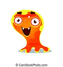 Funny cartoon friendly slimy monster. Cute bright jelly...