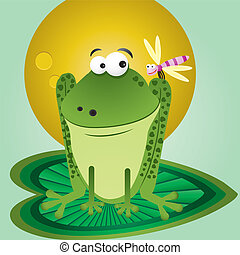Funny cartoon frog with dragonfly on background for greetings card, vector illustration