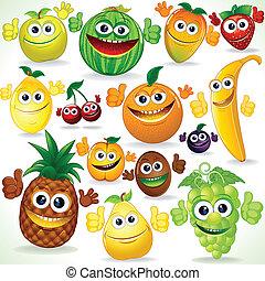Funny Cartoon Fruits. Colorful Clip art