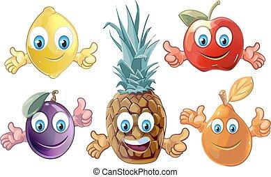 Funny cartoon fruits icons