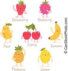 Funny cartoon fruits vector collection