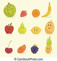 funny cartoon fruits vector illustration flat