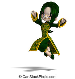 funny cartoon girl in green china dress. 3D rendering with clipping path and shadow over white