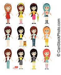 Funny cartoon girls cute female young woman happy character set vector illustration