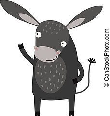 Funny cartoon gray donkey farm animal character vector. -...