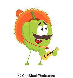Funny cartoon green pepper character wearing sombrero hat playing guitar, mexican traditional humanized food in traditional clothes playing music vector Illustration