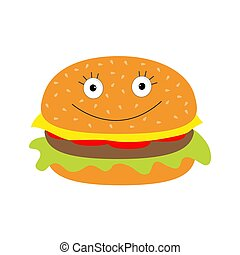 Funny cartoon hamburger icon with happy face.