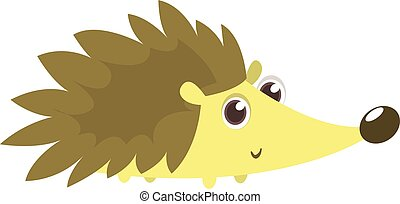 Funny cartoon hedgehog. Isolated on white background. Vector illustration/