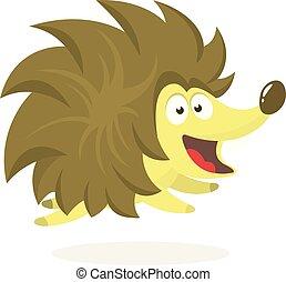 Funny cartoon hedgehog. Isolated on white background