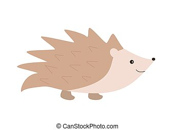 Funny cartoon hedgehog. Vector illustration on a white background.