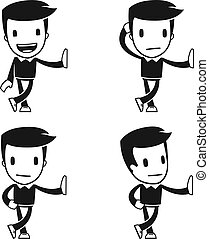 funny cartoon helper man in various poses for use in...