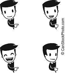 funny cartoon helper man in various poses for use in ...