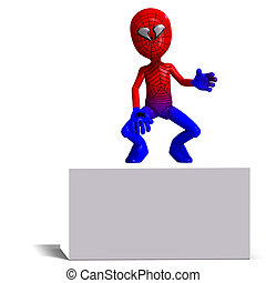 funny cartoon hero that crawls like a spider. 3D rendering ...