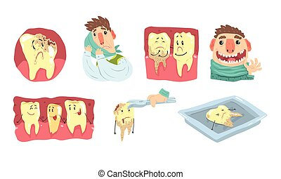 Funny Cartoon Humanized Sick And Healthy Teeth Illustration Set Isolated On White Background