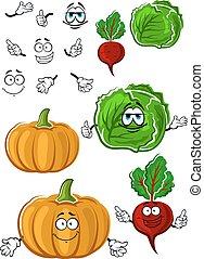 Funny cartoon isolated fresh veggies