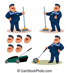 Funny cartoon janitor set with emotions. Smiling fat character gardener in blue suit sweeping floor with broom. Happy flat cleaner with lawn mower and face expressions. Colorful vector illustration.