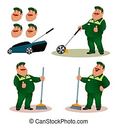 Funny cartoon janitor set with emotions. Smiling fat character gardener in green suit sweeping floor with broom. Happy flat cleaner with lawn mower and face expressions. Colorful vector illustration.