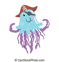 Funny cartoon jellyfish pirate in a hat and eye patch colorful character vector Illustration