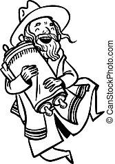 Funny cartoon jewish man dancing with Torah. Vector...