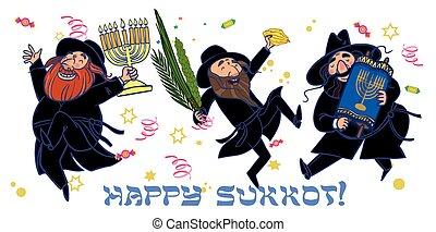 Funny cartoon jewish men dancing wiht ritual plants for...