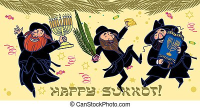 Funny cartoon jewish men dancing wiht ritual plants for...