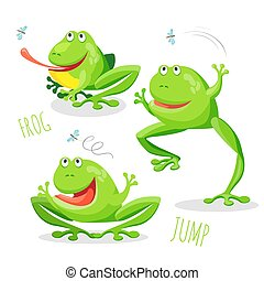 Funny cartoon jumping frog set vector sketch drawing