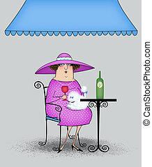 Funny Cartoon Lady at a Sidewalk Cafe - Funny fancy lady...