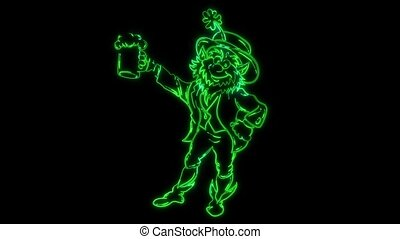 Funny Cartoon Leprechaun Doing laser animation - Funny...