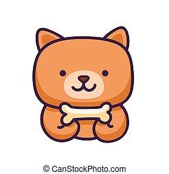 Funny cartoon little dog with bone.