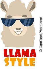 Funny cartoon Llama with sun glasses on