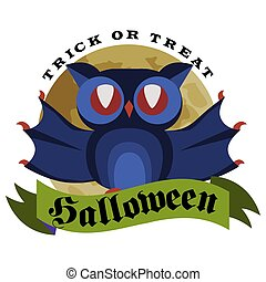 Funny cartoon logo Halloween owl flat poster vector illustration. Magic night-bird hanging upside down on tree branch with spiderweb. Horror party concept. Isolated on white.