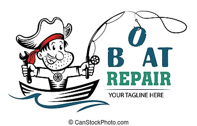 Funny cartoon logo of pirate holding wrench and fishing rod. Boat repair funny concept. Repairing Fishing Boats mascot.