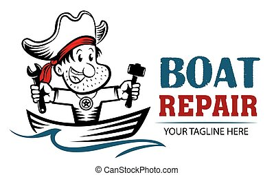 Funny cartoon logo of pirate holding wrench and hammer. Boat repair funny concept. Repairing Fishing Boats mascot.
