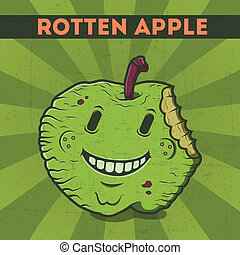 Rotten apple - Funny, cartoon, malicious, green monster...