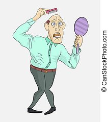 Funny cartoon man looks in the mirror at his bald head. Hair loss concept. Fighting hair loss in men. Hair care concept.