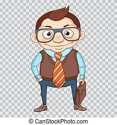 Funny cartoon manager or businessman. Clerk in glass and with leather briefcase. Business character. Office manager