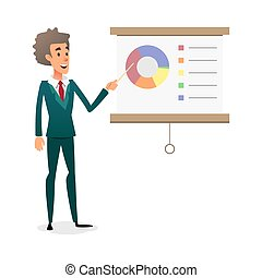Funny cartoon manager presenting whiteboard about financial growth. Young businessman making presentation and showing diagrama on whiteboard.