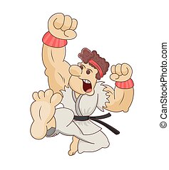 Funny cartoon martial artist performing a flying karate kick. Design for print, emblem, t-shirt, party decoration, sticker, logotype.