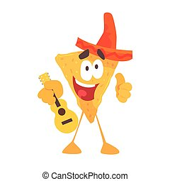 Funny cartoon Mexican nachos chip character wearing sombrero hat, traditional humanized food in traditional clothes playing guitar vector Illustration