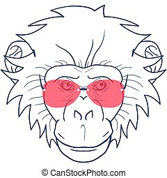 funny cartoon monkey with glasses