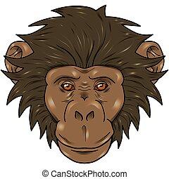 funny cartoon monkey with gradient.