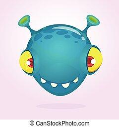 Funny cartoon monster creature. Vector character design. Halloween
